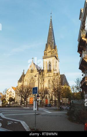 STRASBOURG, FRANCE - NOV 1, 2017: Saint Maurice Church on Avenue de la Foret Noire in Strasbourg on a fall day - Stock Photo