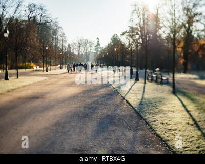 Rear view of unrecognizable group of seniors friends workout in public Orangerie park with hiking trekking alpine poles for a healthy spirit - tilt-shift lens used  - Stock Photo