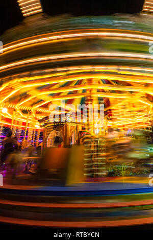 Lincoln Fair Merry-go-round at the Christmas market - Stock Photo