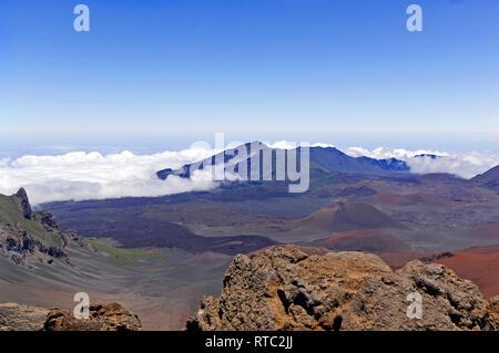 Crater of Haleakala on Island of Maui. 10,023' (3,055 m). Haleakala in Hawaiian means 'House of the Sun'. - Stock Photo