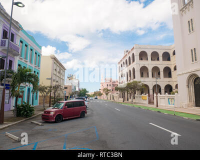 Old San Juan, Puerto Rico. January 2019. Cobblestone street scene with colorful buildings in Old San Juan, Puerto Rico. - Stock Photo
