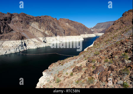 Lake Mead Reservoir at Hoover Dam, on the Nevada-Arizona border, USA. - Stock Photo