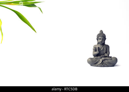 Сoncentration of mind. Yoga concept. Lotus pose. Zen meditation background. Relax minimal concept. Copy space. - Stock Photo