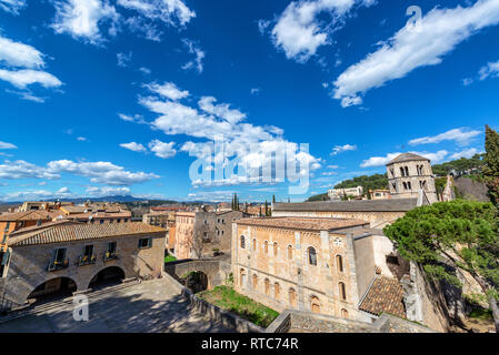 Cityscape view of Girona, Spain with historic monastery on the righthand side - Stock Photo