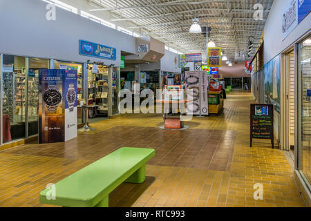 The interior of Marystown Mall. A small local shopping mall in Newfoundland, Canada. - Stock Photo