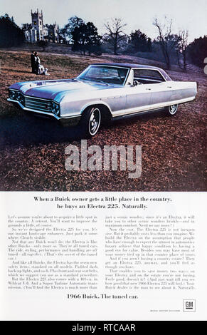 1966 magazine advert for the Buick Electra 225 car. - Stock Photo