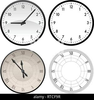 Modern clock and antique clock in both color and black template versions, vector illustration - Stock Photo