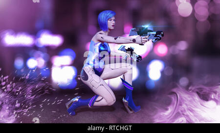 Cyborg girl armed with guns crouching, female battle robot shooting, sci-fi android woman in the night city street, 3D rendering - Stock Photo
