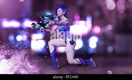 Cyborg girl armed with guns kneeling, female battle robot shooting, sci-fi android woman in the night city street, 3D rendering - Stock Photo