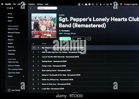 The Beatles album Sgt Pepper's Lonely Hearts Club Band Spotify webpage - Stock Photo
