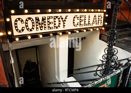 Famous comedy club in Greenwich Village on MacDougal Street, Manhattan - Stock Photo
