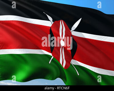 Flag of Kenya waving in the wind against deep blue sky. High quality fabric. - Stock Photo
