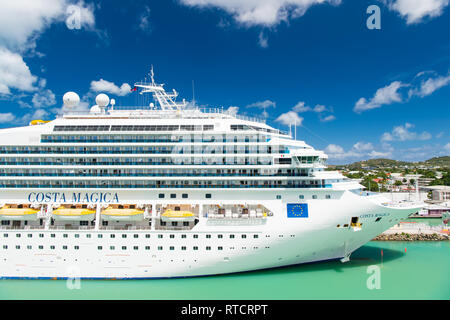 St Johns, Antigua - March 05, 2016: cruise ship Costa Magica docked in sea port. Vacation, travel, wanderlust. luxury - Stock Photo