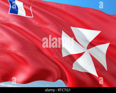 Flag of Wallis And Futuna waving in the wind against deep blue sky. High quality fabric. - Stock Photo