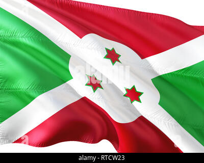 Flag of Burundi waving in the wind, isolated white background. - Stock Photo