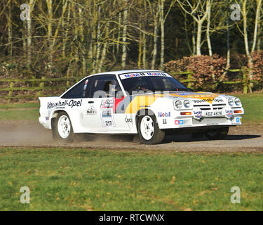 Simon Powell, Opel Manta 400, Race Retro, Rally stage, Sunday 24th February, 2019, retro, nostalgia, motorsport, cars, vehicles, racing, classic cars, - Stock Photo