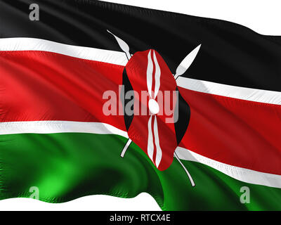 Flag of Kenya waving in the wind, isolated white background. - Stock Photo