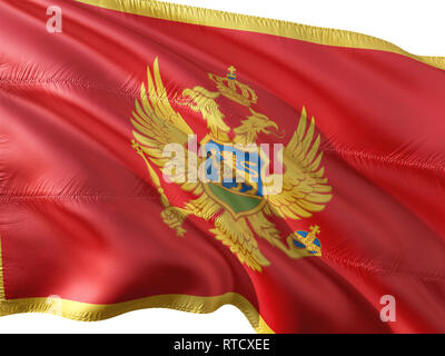 Flag of Montenegro waving in the wind, isolated white background. - Stock Photo