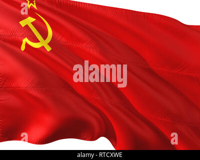 Flag of Soviet Union waving in the wind, isolated white background. - Stock Photo
