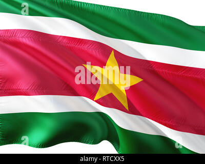 Flag of Suriname waving in the wind, isolated white background. - Stock Photo