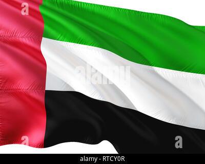 Flag of United Arab Emirates waving in the wind, isolated white background. - Stock Photo