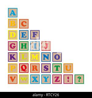 Set of colored wooden cubes with letters of the alphabet - Stock Photo