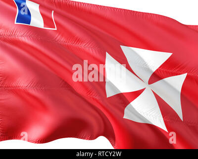 Flag of Wallis And Futuna waving in the wind, isolated white background. - Stock Photo