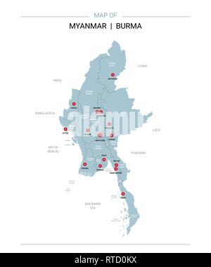 Myanmar Burma vector map. Editable template with regions, cities, red pins and blue surface on white background. - Stock Photo