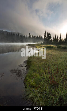 WA15840-00...WASHINGTON - Mist clearing in the early morning hours at Reflection Lakes in Mount Rainier National Park. - Stock Photo