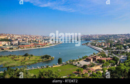 Halic, Golden Horn Panoramic view from Pierre Loti Hill, Istanbul, Turkey - Stock Photo