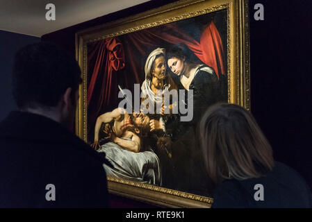 London,UK.  1 March 2019.  The painting known as 'Judith and Holfernes', c1607, by Caravaggio, is seen on display to the public for the first time after being discovered in an attic in Toulouse, France five years ago where it had lain forgotten for 100 years.  being exhibited at the Colnaghi Gallery in London, will be shown in Paris, New York and Toulouse, before being auctioned in Toulouse on 27 June 2019.  As is customary in France, no reserve has been placed on the artwork, but it has been reported that the painting may sell for in excess of £120m. Credit: Stephen Chung/Alamy Live News - Stock Photo