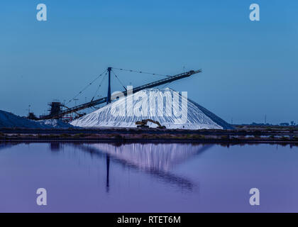 Salterns pans in the Camargue near south of Arles - Stock Photo