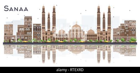 Sanaa Yemen City Skyline with Color Buildings and Reflections Isolated on White Background. Vector Illustration. - Stock Photo