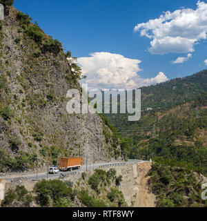 Truck on the high altitude Manali-Leh road in Ladakh, Himalaya mountains, India - Stock Photo