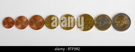 Euro and Cent coins in a row, 1 Cent, 2 Cent, 5 Cent, 10 Cent, 20 Cent, 50 Cent, 1 euro, 2 euro coins, Germany - Stock Photo