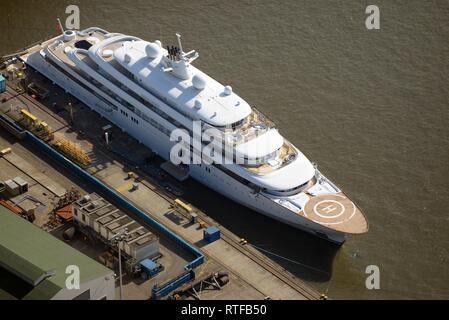 Aerial view, Mega-Yacht Golden Odyssey at mooring, Hamburg Harbour, Hamburg, Germany - Stock Photo
