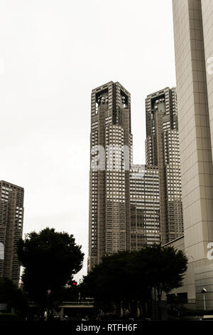tall buildings in Tokyo - Stock Photo