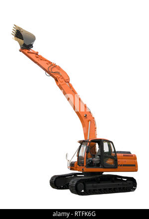 excavator isolated on perfectly white background with clipping paths - Stock Photo