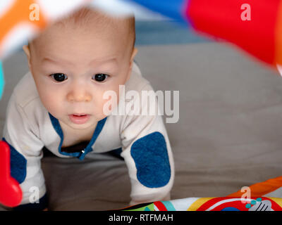 4 months old mixed race Asian Caucasian boy looking happy smiling and laughing at the camera, healthy child baby boy. Baby starting to crawl - Stock Photo