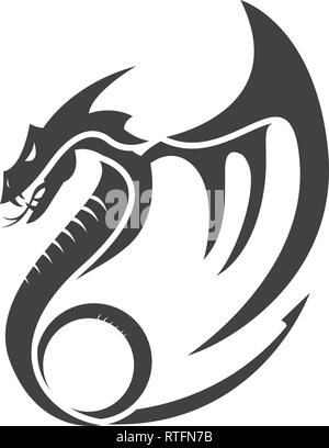 flat simple dragon vector illustrations logo designs - Stock Photo