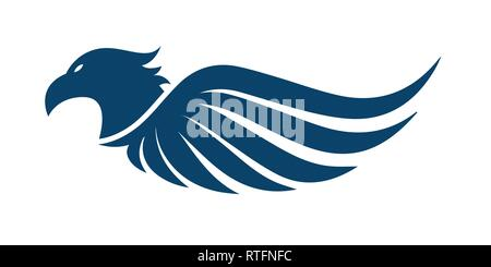 Flat eagle head with wings vector icon design - Stock Photo