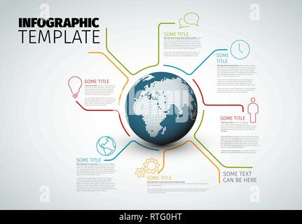 Vector Infographic report template made from lines with world globe - light version - Stock Photo