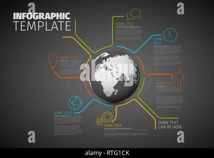 Vector Infographic report template made from lines with world globe - dark version - Stock Photo