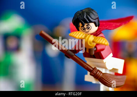 Tambov, Russian Federation - January 20, 2019 Lego Harry Potter on broom captured the Golden Snitch and win the Quidditch Match. - Stock Photo