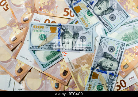 Many banknotes euro 50 lies on a white background wood with copy space top view - Stock Photo