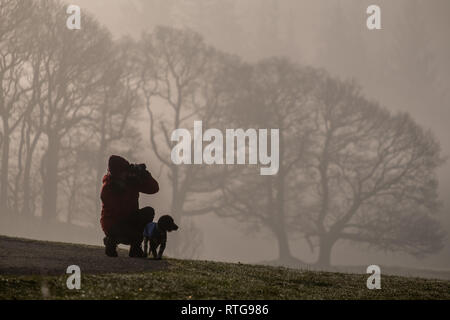 A photographer with a dog captures a shot on a misty morning near Elterwater, Lake District, UK - Stock Photo