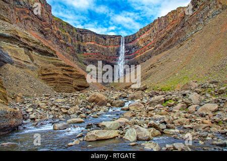 Beautiful Hengifoss waterfall in Iceland. - Stock Photo