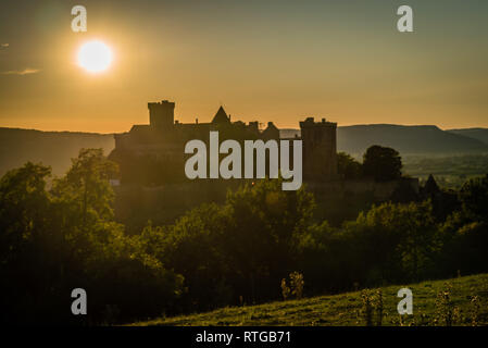 Castelnau castle in Prudhomat close to Bretenoux in France - Stock Photo