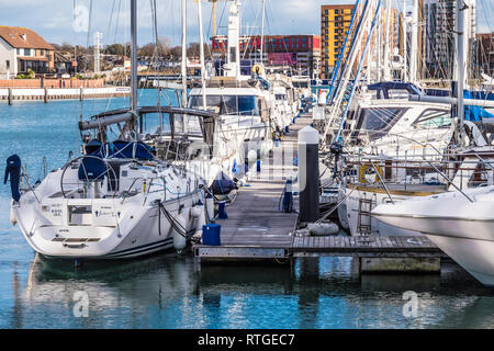 Ocean Village and Centenary Quay in Southampton, UK. - Stock Photo