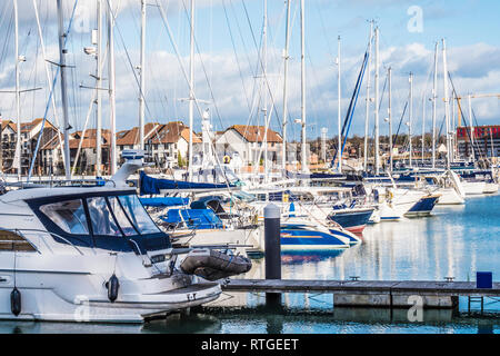 The Ocean Village Marina and Centenary Quay in Southampton, UK. - Stock Photo